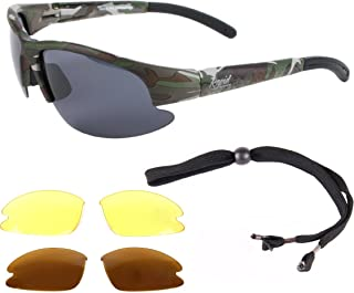 Rapid Eyewear Mens UV400 Camouflage Polarized Sport Sunglasses with Interchangeable Polarized & Low Light Lenses. Ideal Fishing, Hunting, Military (Army) Glasses