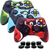 BRH Protective Skin Case Cover Soft Silicone for Xbox 360 Controller (Red & Blue) (Camouflage)