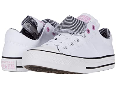 Converse Kids Chuck Taylor(r) All Star(r) Maddie Pinstripe Slip-On (Little Kid/Big Kid) (White/Peony Pink/Black) Girl