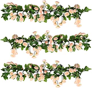 YILIYAJIA 3PCS Artificial Rose Garlands Silk Fake Rose Flowers Green Leaves Vine for Home Hotel Office Wedding Party Garden Craft Art Decor (Pink)