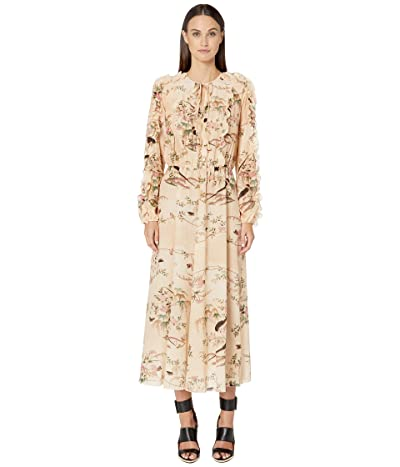 RED VALENTINO Oiseaux Romantiques Print Silk Crepe De Chine Dress (Avorio) Women