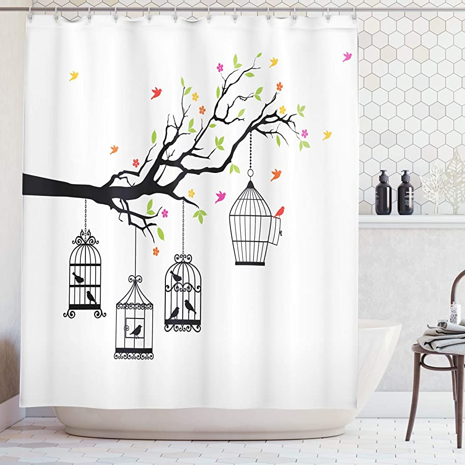 Ambesonne Flying Birds Decor Collection, Floral Colorful Tree Branch with Birds and Open Cages Freedom Theme Spring Liberty Home, Polyester Fabric Bathroom Shower Curtain, 75 Inches Long, Multi