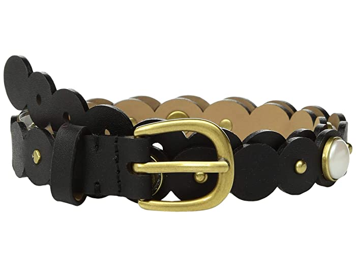 Kate Spade New York 20 mm. 3/4 Scalloped Pearl Belt (Black) Women