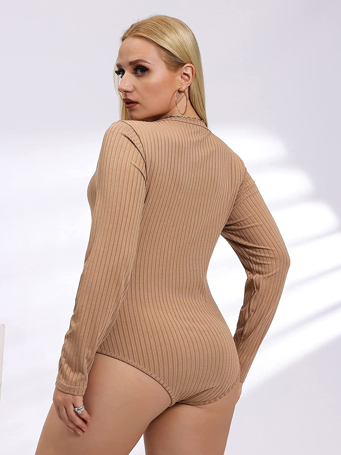 Milumia Women's Plus Size Scoop Neck Long Sleeve Solid Ribbed Knit Bodysuit Leotard