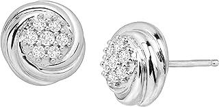 1/4 ct Diamond Swirled Cluster Stud Earrings in Sterling Silver