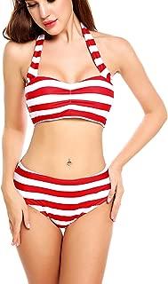 ADOME Women High Waisted Swimwear Push up Bikini Set Halter Underwired Swimsuits
