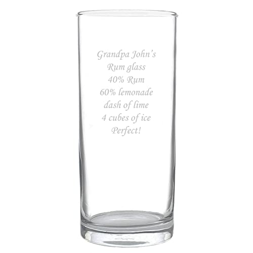 Engraved/Personalised Hi/High Ball Glass Gift  For Mum/Dad/Mothers Day/Wedding/50th/60th/65th/70th Birthday