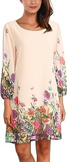 DJT Damen Blumen Muster Rundhals Casual Blusenkleid Kleider