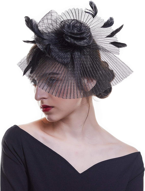 AWAYTR Feather Fascinator hatMesh Hair Clip Hat for Wedding Church Party Women