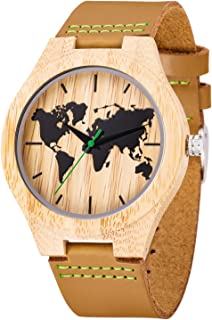 Calf Leather Bamboo Watch,UWOOD World Map Calf Leather Bamboo Wood Watch Men Dress Watch Bamboo