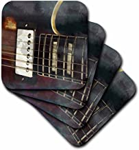 3dRose cst_164294_1 Guitar Grunged Background-Soft Coasters, Set of 4