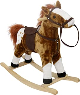 Peach Tree Baby Kids Plush Toy Rocking Horse Pony with Realistic Sounds for Children's Day Gift Rocking Horse Birthday Present, Brown
