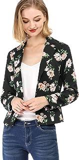 Women's Long Sleeve Open-Front Floral Print Blazer Jacket