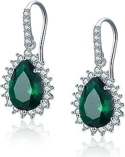 SBLING Platinum-Plated AAAA Cubic Zirconia Halo Teardrop Earrings (4 cttw)