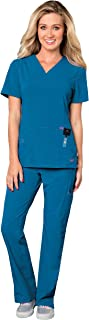 Smitten Women's Scrub Set Bundle - S101002 Rock Goddess V-Neck Top & S201002 Hottie Cargo Drawstring Flare Leg Pants & Marc Stevens Badge Reel (Royal - XX-Small/XX-Small)
