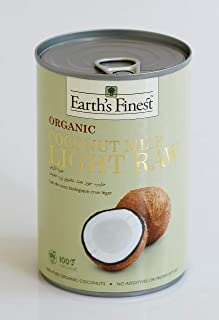Earth's Finest Organic Coconut Milk Light Raw - 400 ml | Reduced Fat Raw Organic Coconut Milk for Professional and Home Co...
