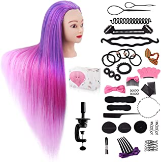 Mannequin Head with Hair, Beauty Star 29.5 Inch Training Head Hair Mannequin Manikin Head Cosmetology Doll Head Practice S...