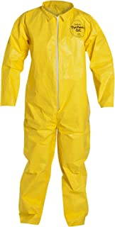 DuPont Tychem 2000 Disposable Chemical Resistant Coverall with Serged Seams and Open Cuff, Yellow, X-Large, 12-Pack