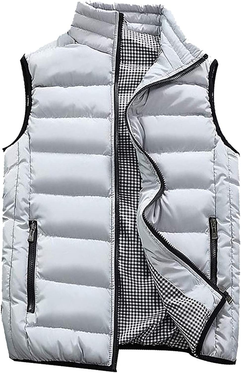 WOCACHI New mail order Down Puffer Vests for Mens Fall favorite Size Plus Winter Zipper