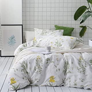 Eletina Staring Botanical Comforter Set, 100% Cotton Fabric with Soft Microfiber Fill Bedding, Yellow Flowers and Green Leaves Floral Garden Pattern Printed on White (3pcs, Queen Size)