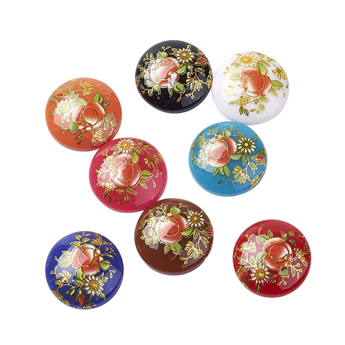 ARRICRAFT 10pcs Half Round/Dome Printed Glass Cabochons Black Color for Jewelry Making Beads Caps