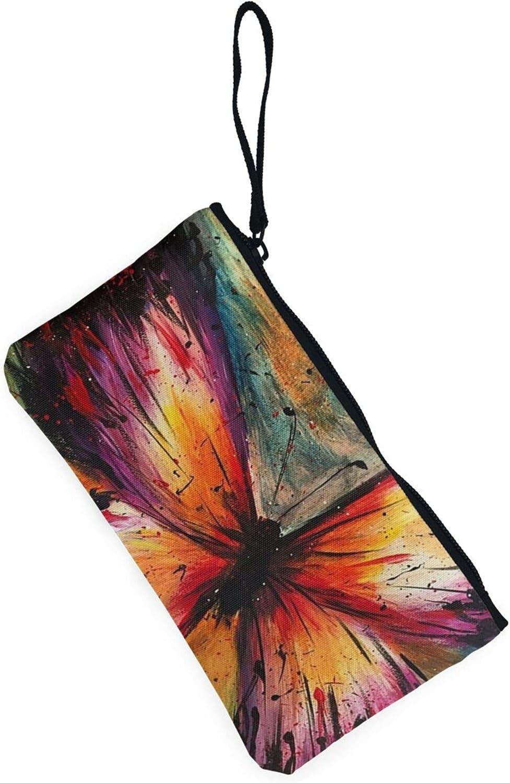 AORRUAM Embroidery Colorful Butterfly Canvas Coin Purse,Canvas Zipper Pencil Cases,Canvas Change Purse Pouch Mini Wallet Coin Bag
