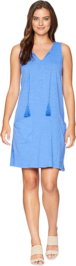 Slub Jersey Notch Seamed Tank Dress with Pockets