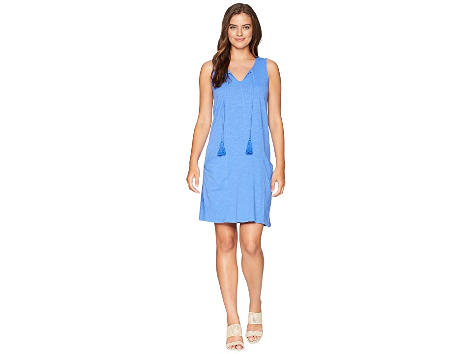 Mod-o-doc Slub Jersey Notch Seamed Tank Dress with Pockets (Tanzanite) Women