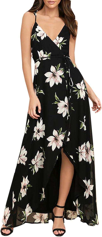 Blooming Jelly Women's Halter V Neck Backless Spaghetti Strap Flowy High Waist Split Floral Print Long Summer Maxi Dress
