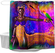 Colorful Star Parrots and Afro African Women American Design Shower Curtain Made of 100% Polyester Fabric Machine Washable Waterproof Durable with Hooks 72