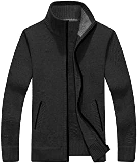 COOFANDY Men's Full Zip Cardigan Sweater Slim Fit Zip Up Cotton Knitted Sweater with Pockets