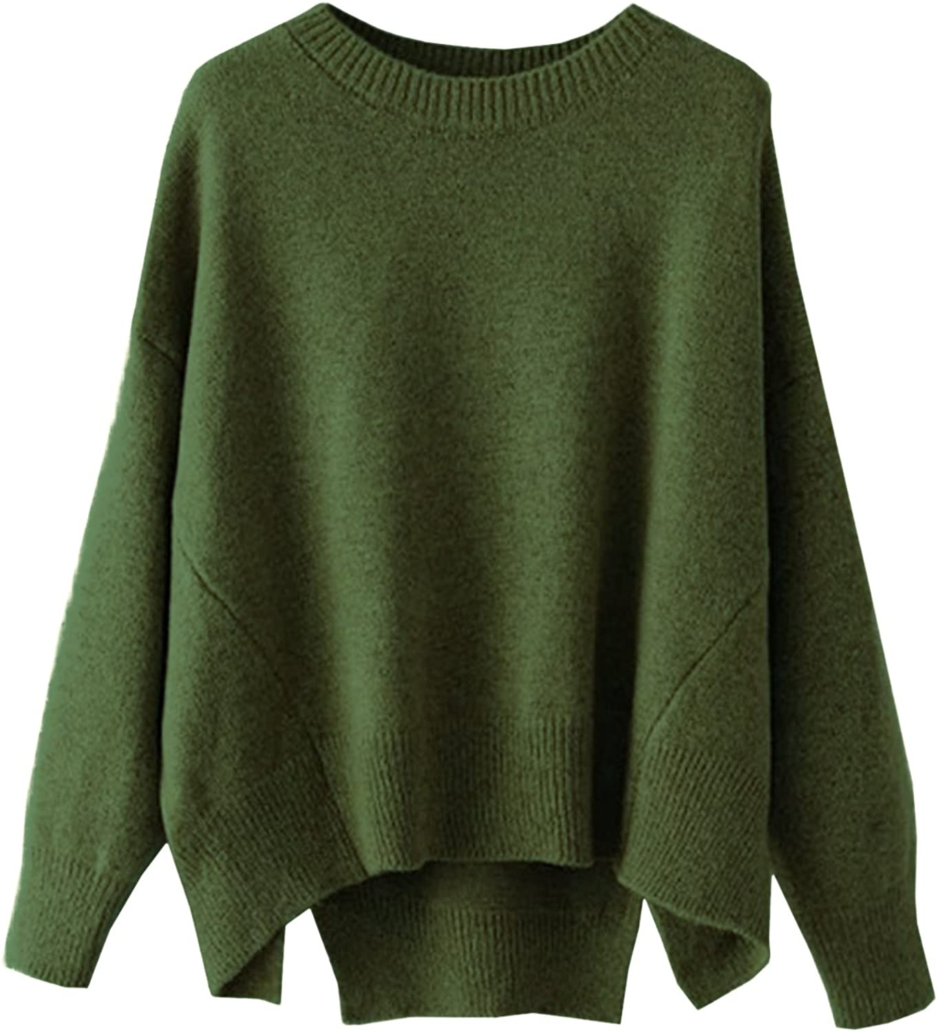 futurino Women's Crew Neck Solid Long Drop Sleeves Loose Knit Pullover Sweaters