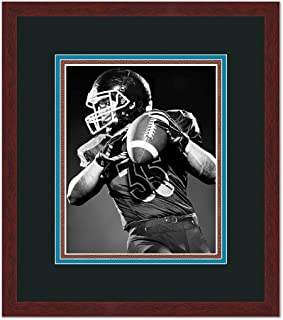 Carolina PanthNFL Brown Wood Frame for a 5x7 Photo with a Triple Mat - Black , Panther Blue, and Football Textured Mats