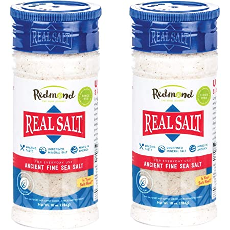 Redmond Real Sea Salt - Natural Unrefined Gluten Free Fine, 10 Ounce Shaker (2 Pack)