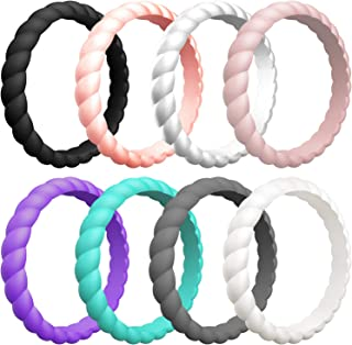 Womens Thin Swivel Rings, 10 Rings / 8 Rings / 4 Rings / 1 Ring - Stackable Silicone Wedding Rings - 2.5mm Wide - 2mm Thick