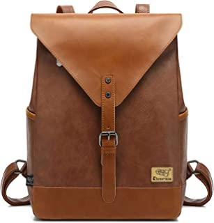 Zebella Vintage Vegan Leather Backpack for Women Men,Brown Faux Leather Laptop Backpack College School Bookbag Travel Daypack