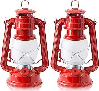 FIELDOOR アンティーク LEDランタン ゆらぎモード切替機能付 【レッド】 暖色 明るさ無段階調整 グランピング オーナメント 吊るし キャンプ BBQ オイルランプ風