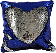 TRLYC 16 X 16-Inch Two Colors Mermaid Sequin Pillow Cover DIY Magic Colors Change Cushion Royal Blue and Silver Insert not Included 16 X 16-Inch(40x40cm)