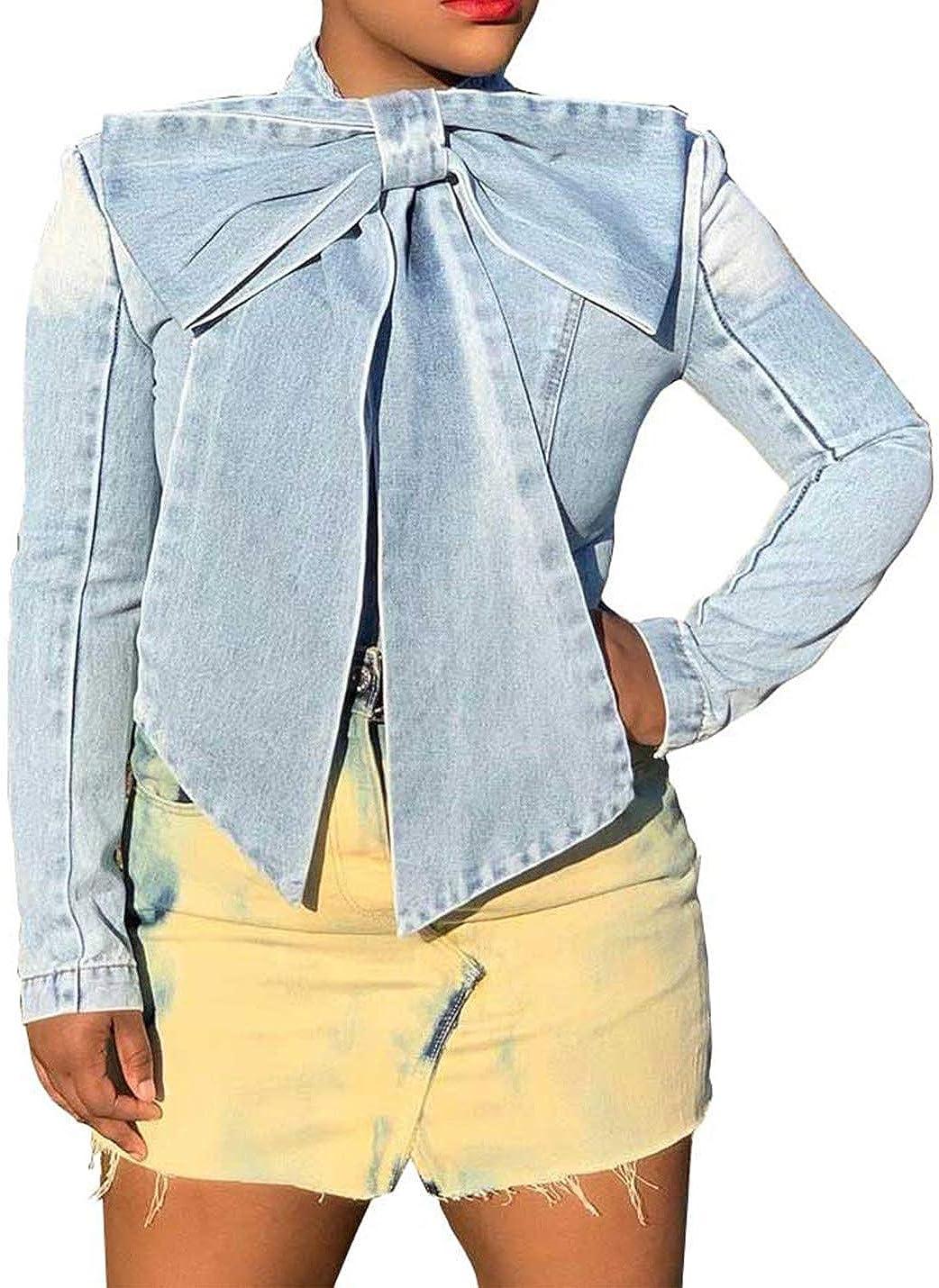 Yimoon Women's Casual Cropped Button Down Bowknot Denim Trucker Jacket Outerwear