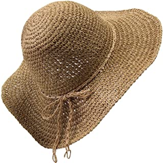 Mecca Women Floppy Sun Hat Brown Hand-Woven Wide Brim Foldable Summer Sunscreen Straw Hat WSH007