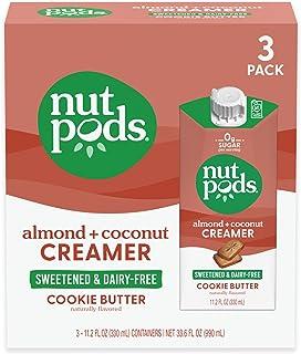 nutpods Keto-friendly Cookie Butter Sweetened coffee creamer, Zero-Sugar, 5 Calories per serving, Dairy-Free, WW, Gluten F...