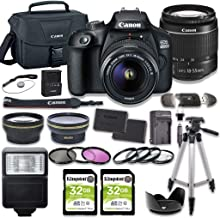 Canon EOS 4000D DSLR Camera Bundle with 18-55mm Lens + 2pc Kingston 32GB Memory Cards + Accessory Kit