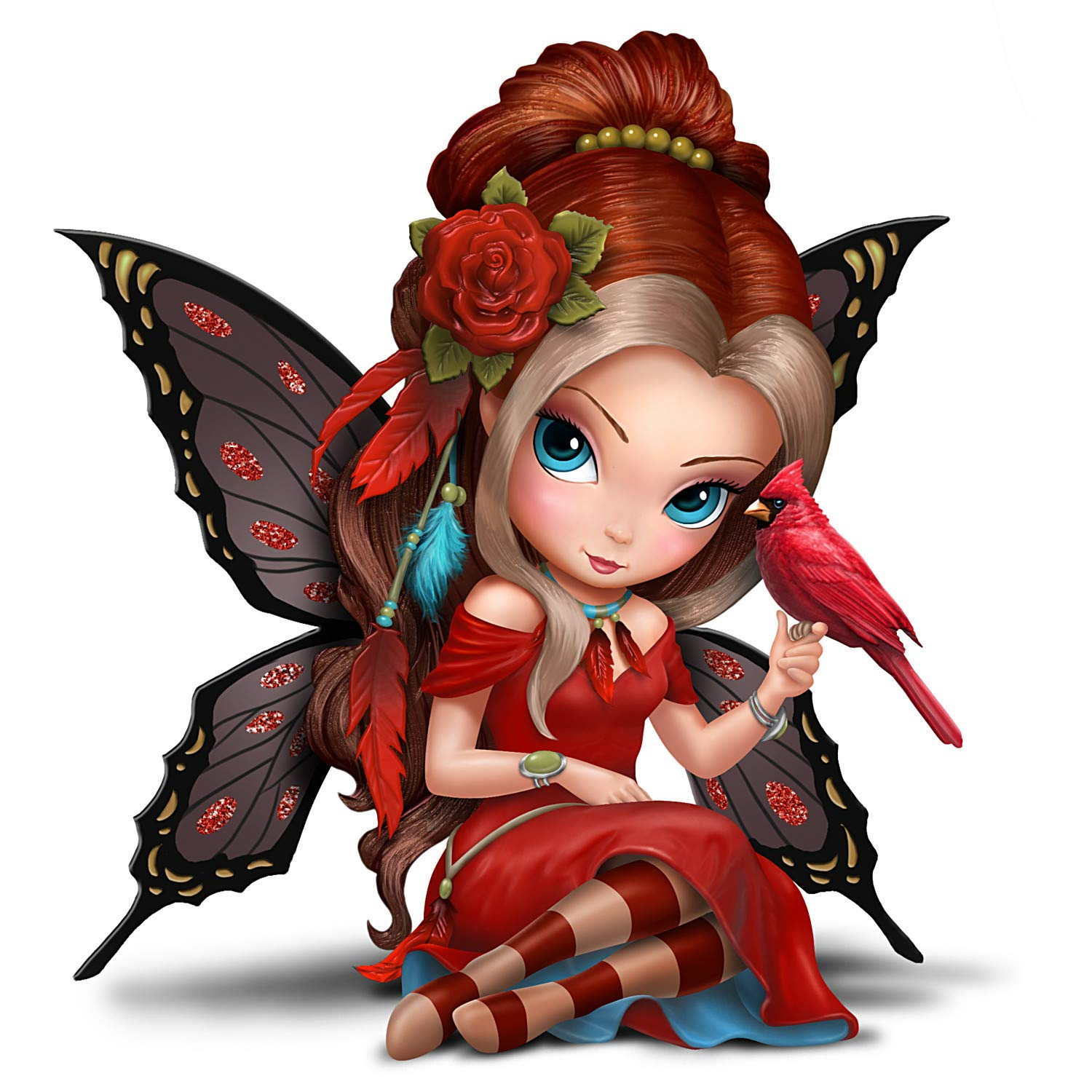 Image of Beautifully Colored Jasmine Becket-Griffith Fairy Figurine with Red Cardinal