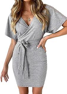 ORANDESIGNE Donna Vestiti Lunghi Eleganti Vestito con Scollo a V Manica Lunga Casuale Pianura Camicia Abiti Vestiti Tinta Unita