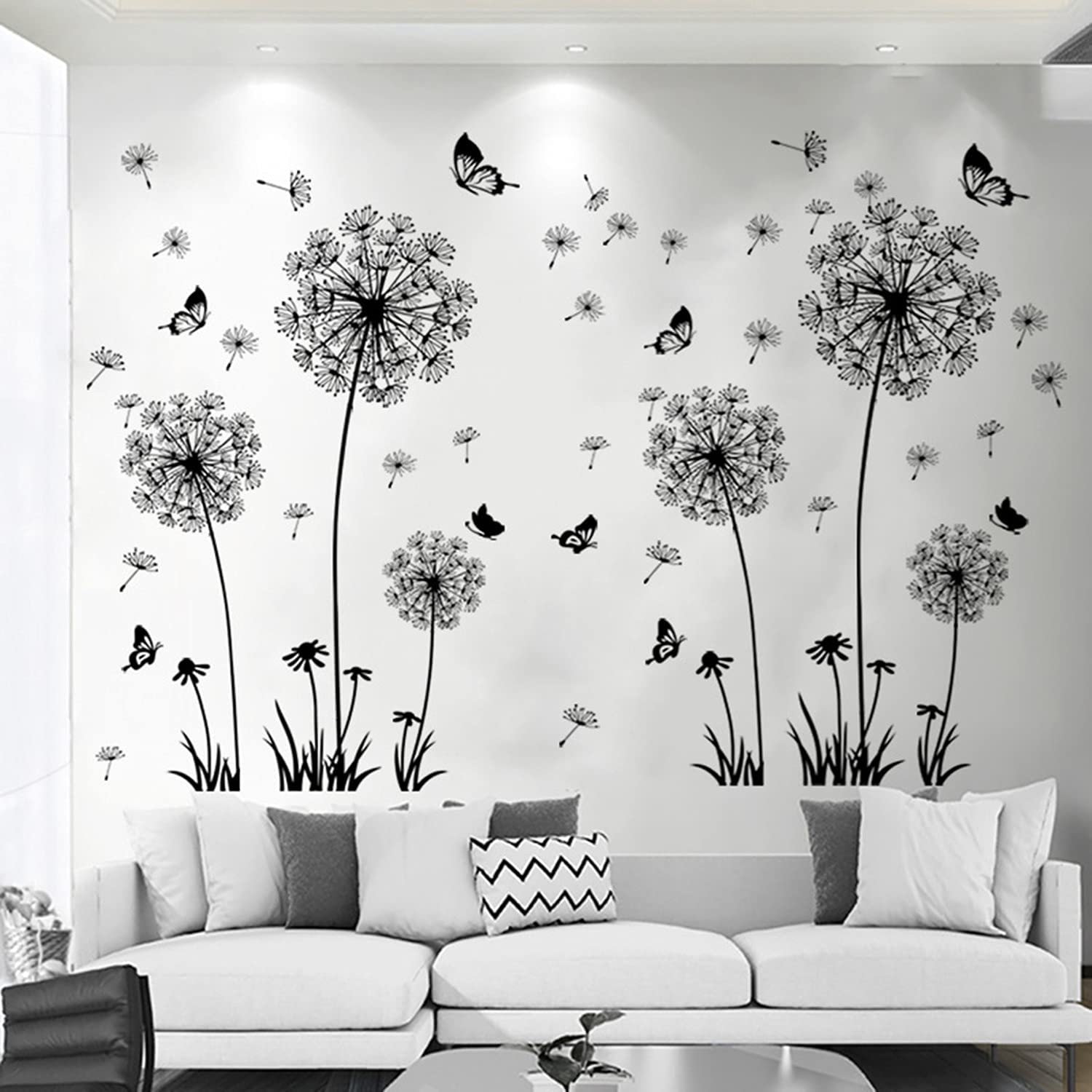 Black Room Wall Decals Decor for Bedroom Butterfly Flower Wall Stickers for Living Room Black Dandelion Nursery Wall Decor Stickers & Murals Butterfly 3D DIY Wall Art as Decorations Peel and Stick