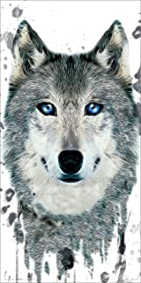 Wolf Face Close Up Modern Illustrated Animal Decorative Art Print (Unframed 12x24 Poster)