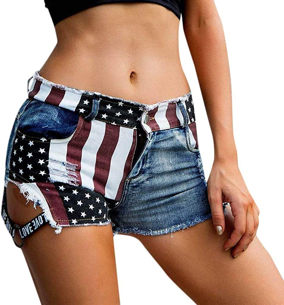 Forthery Womens American Flag Drnim Jeans Sexy Hot Pants Low Waist Destroyed Ripped Hole Cheeky Mini Denim Shorts