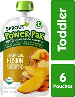 Sprout Organic Stage 4 Toddler Food Power Pak Pouches, Tropical Fusion w/ Superblend, 4 Ounce (Pack of 6)