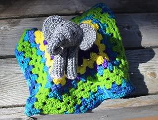 Baby Elephant Lovey Blankey, Elepahant Comfort Blanket, Crochet Elephant Lovey