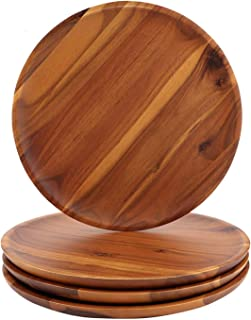 Acacia Wood Dinner Plates, AIDEA 8Inch Round Wood Plates Set of 4, Easy Cleaning & Lightweight for Dishes Snack, Dessert, ...